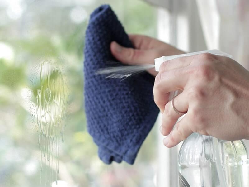 Bạn cho một lượng muối vừa đủ vào một tấm vải mỏng và bọc lại, sau đó dùng nó lau lên kính
