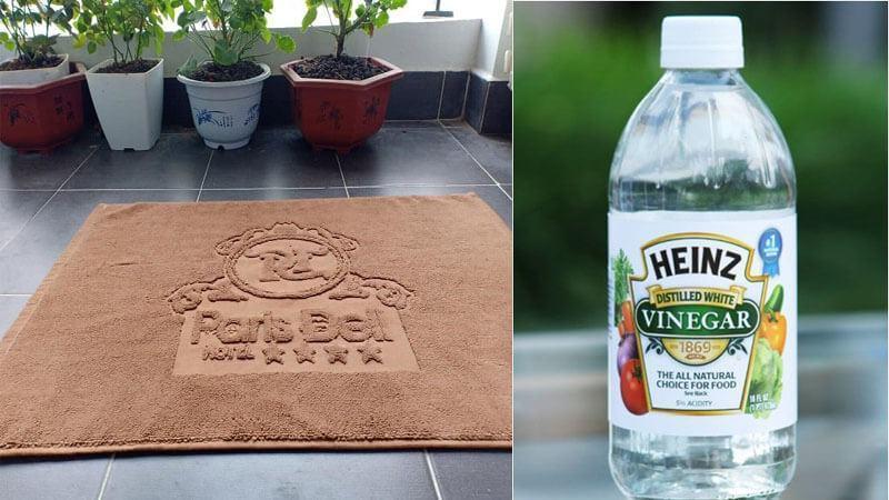 Dấm trắng làm sạch thảm chùi chân